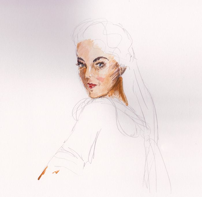 Irina Korsakova. Female character processing. Watercolor.