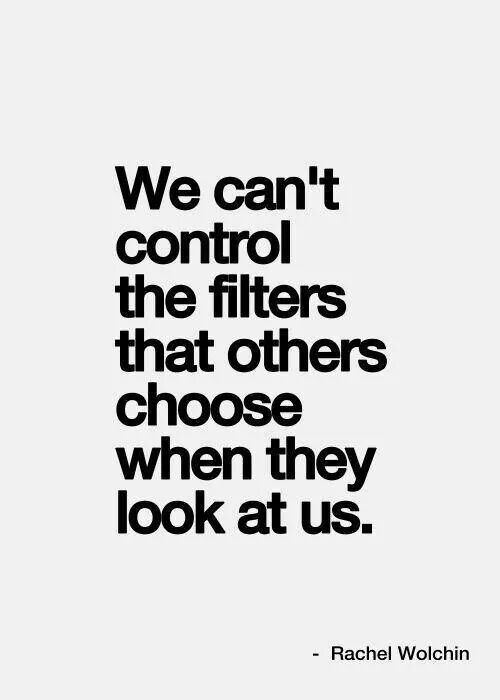 We can't control the filters that others choose when they look at us. ~Rachel Wolchin.