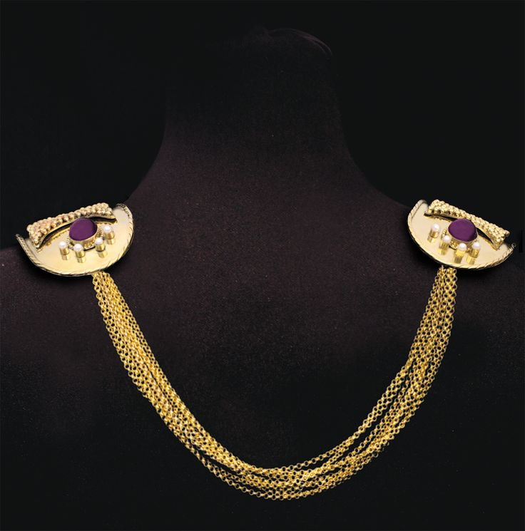 Award winning statement gold-plated collar / chocker made of  bronze with amethysts, a row of pearls on the shoulder line and can be worn in two ways, front and back inspired by the Byzantine era created by Lilly's Papillon. http://www.facebook.com/LillysPapillon