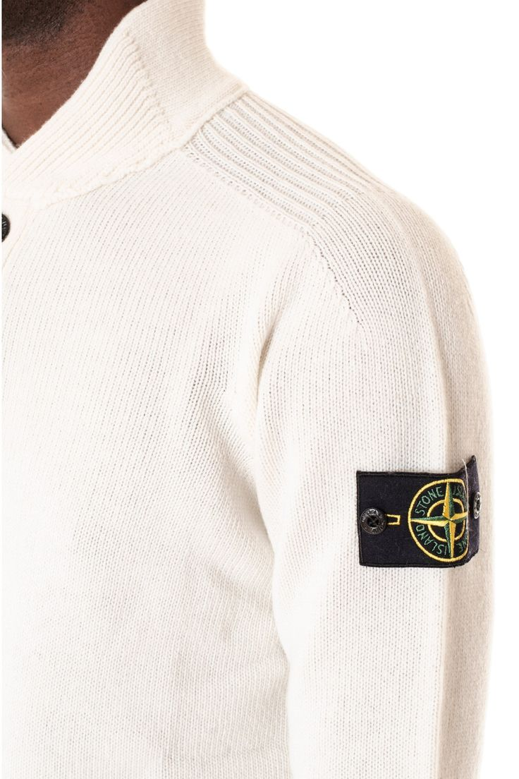STONE ISLAND F/ W 16-17 White crewneck sweater for men with buttons - Rione Fontana