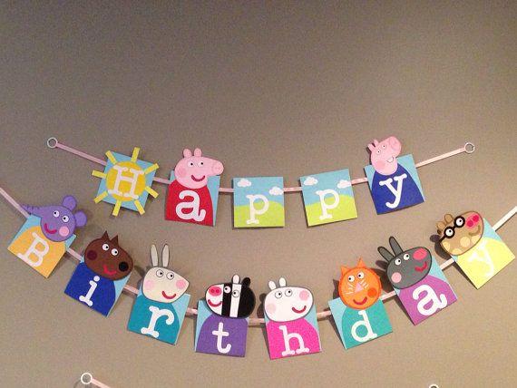 Handmade Peppa pig happy birthday banner by Craftophologie on Etsy, $40.00