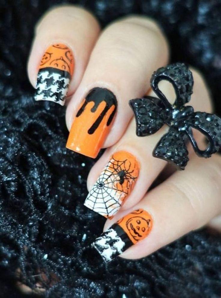 45 neue Nagelkunst-Spinnen-Ideen, die dieses Halloween heutzutage im Trend liegen – idolover.c …   – B170 Nail Art – Halloween
