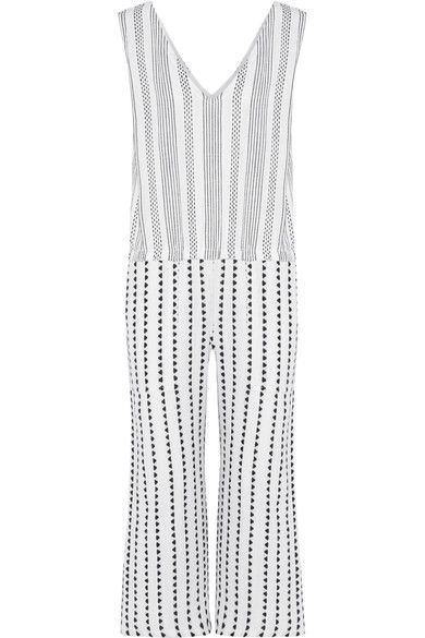 LemLem - Yeshi Striped Cotton-blend Gauze Jumpsuit - Midnight blue