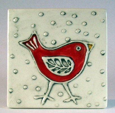 Handmade ceramic tile 4x4 red bird. $20.00, via Etsy.  Monique Cote