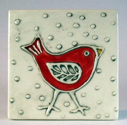 Handmade ceramic tile 4x4 red bird. $20.00, via Etsy.  Monique Cote