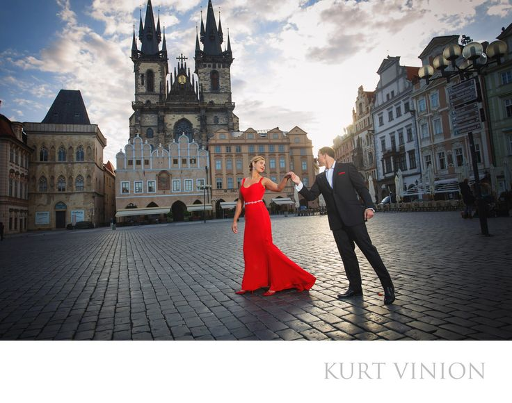 London wedding & Prague pre wedding photographer - a morning dance at Prague's Old Town Square L&G: L&G have an impromptu dance at Prague's Old Town Square after his marriage proposal was accepted. Keywords: Prague Engagement Photography (24).