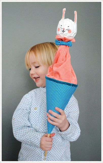 pop up puppet uses cereal box, scrap fabric, paper mache - so sweet to do  for a kids craft