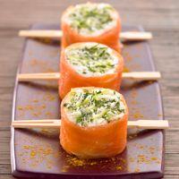 Sushis de saumon fumé à la bûche de chèvre et pomme Granny-smith - gravlax remoulade de pomme chevre saumon frais ?