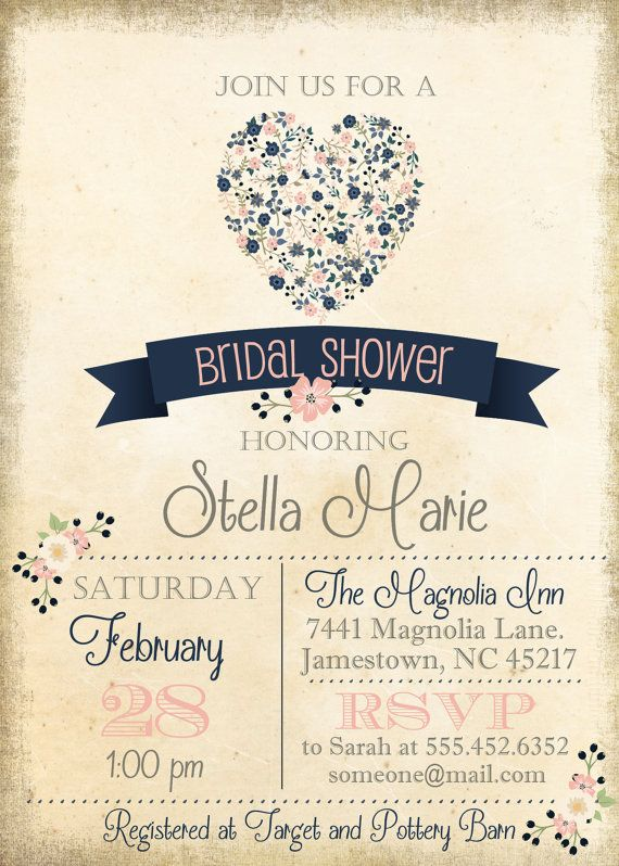vintage blush pink navy blue floral bridal shower invite invitation flowers simple casual digital file fall autumn wedding bridal shower pinterest