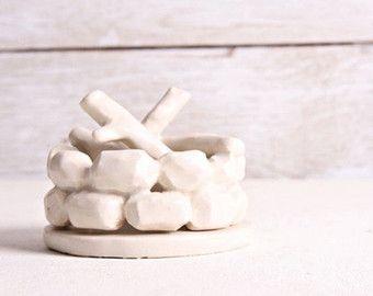 Smoking Ceramic Campfire Incense Burner, White Stoneware Clay Pottery, Monochromatic Minimalistic Simple Design, Unique Off Grid Gift
