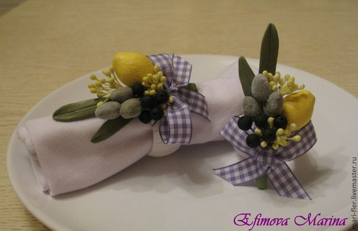 Купить Кольца для салфеток - кольца для салфеток, полимерная глина deco, подарок, лимон, оливки