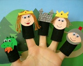 Castle Fairytale Finger Puppets, Felt Finger Puppets, Dragon Puppet, Princess Puppet, King Puppet, Castle Puppet, Knight Puppet