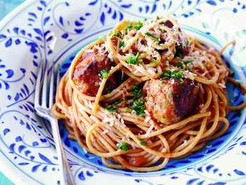"Spaghetti with Turkey Meatballs in Spicy Tomato Sauce"" from Cookstr ..."