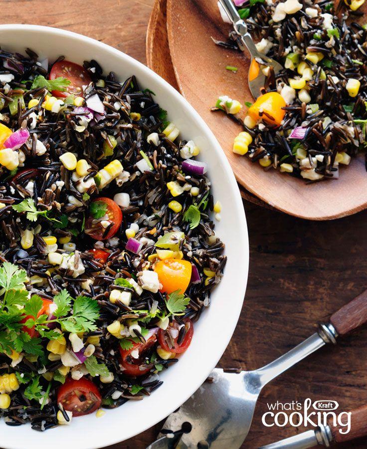 Salade de riz au maïs grillé et aux piments jalapenos #recette