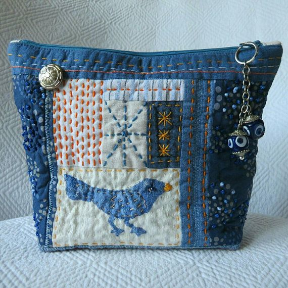 Sashiko pouch Handquilted Patchwork bag Recycled Jeans bag