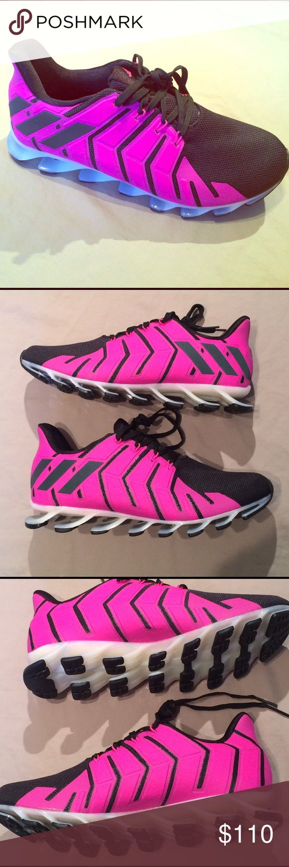 Women's adidas springblade pro size 9.5 Hot pink, black, and brand new- never worn. Adidas Springblade Pro, women's size 9.5, which have the springs under the entire shoe, not just Mid to back as the normal springblade. As always, 100% authentic, let me know if you'd like more pics. There is no original box, but the will be wrapped and double boxed to ship. Adidas Shoes Sneakers