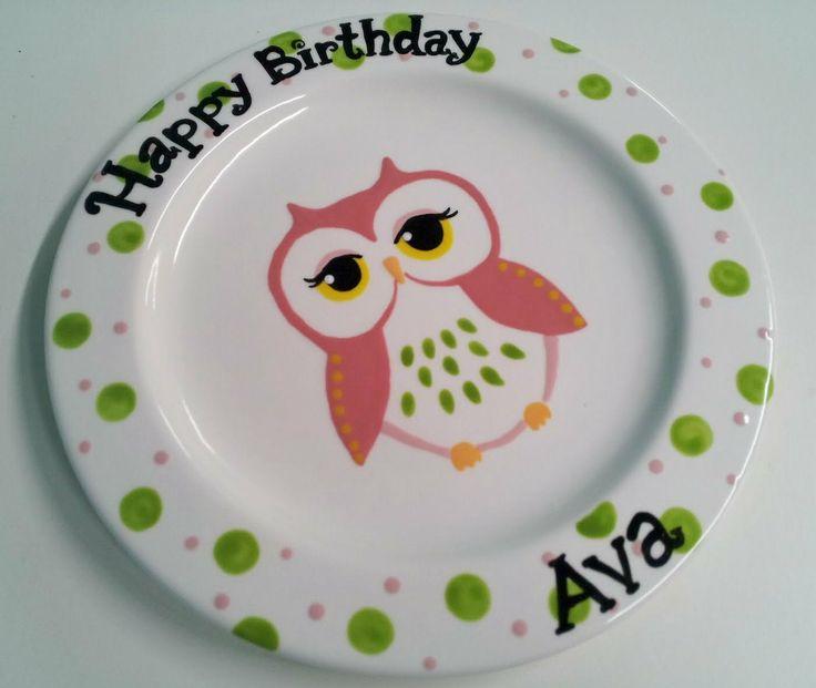 Hand Painted Ceramic  Owl  Birthday Plate ... & 41 best Ceramic Painting images on Pinterest   Ceramic painting ...