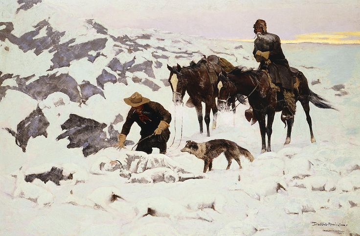 The Frozen Sheepherder Painting  - Frederic Remington