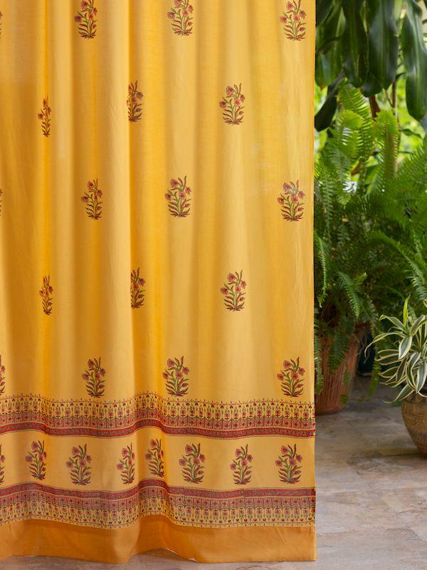 Indian Summer (c) ~ Orange Paisley India Sari Cotton Curtain