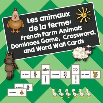 Les animaux de la ferme: French Farm Animals Dominoes, Crossword, and Word Wall