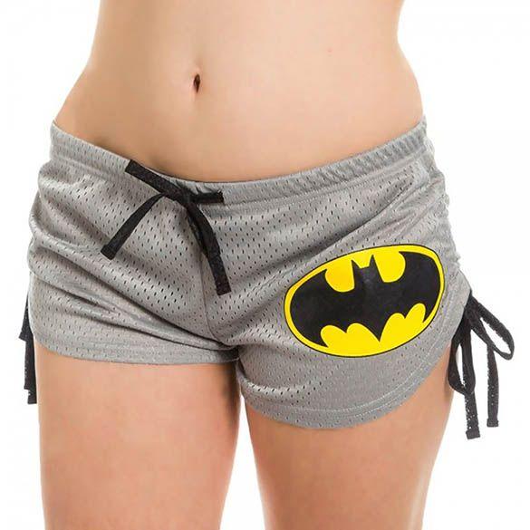 "Sexy grey Batman booty shorts for women w/ a stylized Batman logo and ""Batman"" on the back. Geek girls / DC Comics fans, get your Batman booty shorts TODAY!"