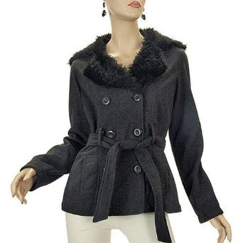 Polyester Wool-Like Jacket with Faux Fur Collar - Large (12-14 US) Boulevard. $49.99
