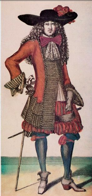 "French Engraving (circa 1678) Jean de Saint-Jean. Coat worn with petticoat breeches and ribbon accessories. From ""The Cut of Men's Clothes 1600-1900"" by Norah Waugh"