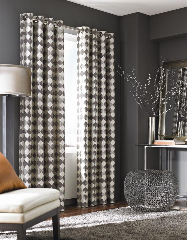 Black And White Rectangle Modern Fabric Modern Curtain Panels With