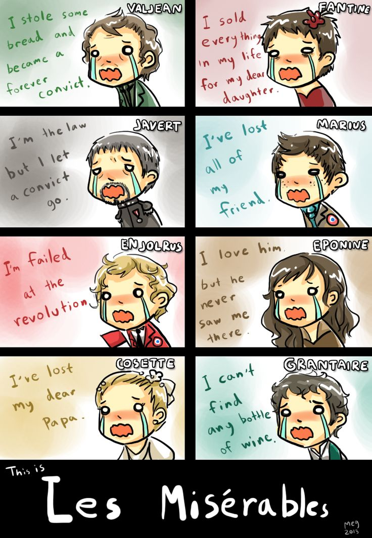 "Les Mis in a nutshell as told by chibis. Look at Marius' freckles! Can I get an ""AWWWW""?"