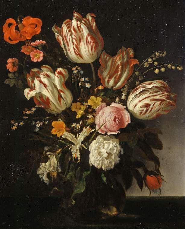 Abraham van Calraet (1642 - 1722). Стеклянная ваза с цветами.  Фицвиллиам музей в Кембриджский университет , Великобритания