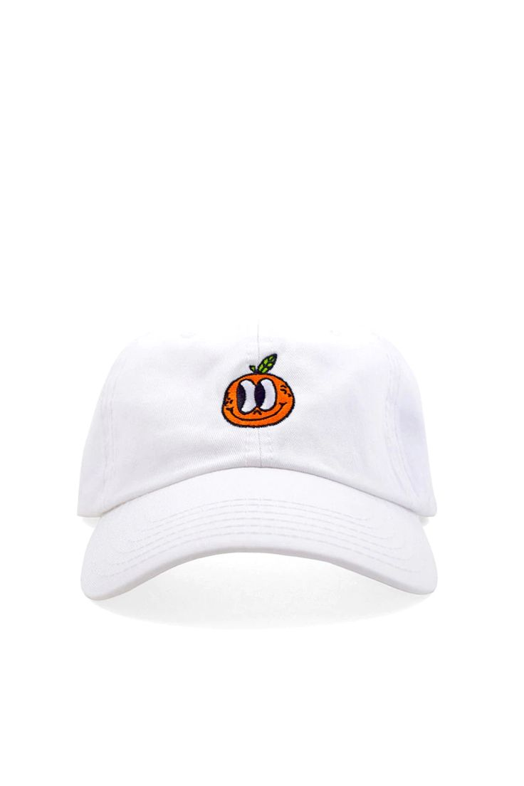 A dad hat by Valley Cruise™ featuring an embroidered smiling orange on the front and an adjustable back.