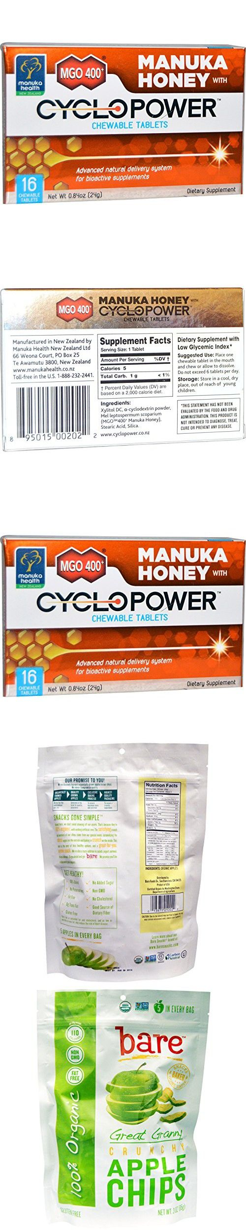 Best Manuka Health, MGO 400+, Manuka Honey with CycloPower, 16 Chewable Tablets, Bare Fruit, Great Granny Crunchy Apple Chips, 3 oz (85 g)