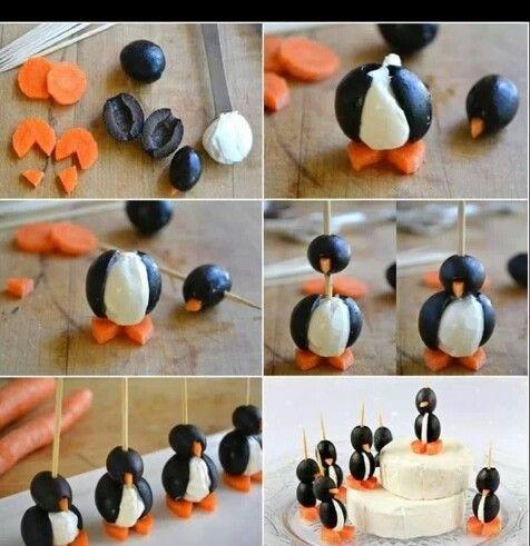 Pinguine aus oliven Käse und Karotten coole party idee