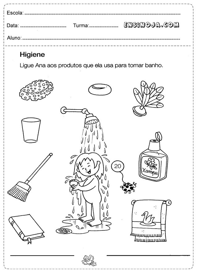 atividades higiene pessoal infantil