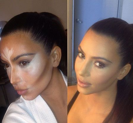 Kim K's magic secret to having a beautiful angular face! It's all in the contouring under foundation. *HINT* The best way to hide bags under the eyes is to draw a triangle from the far corner of your eye to the tip of your nostril, and back up to your tear duct! It almost completely hides age lines, bags and under eye discoloration, works much better than the half moon concealer under your eyes.