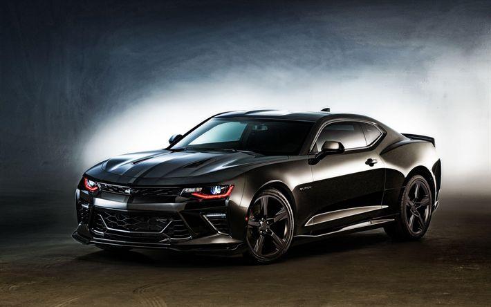 Descargar fondos de pantalla Chevrolet Camaro, supercars, 2017 coches, coches americanos, negro Camaro, Chevrolet