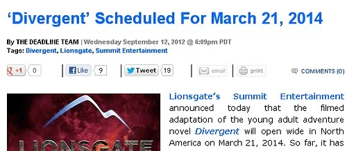 Divergent release date!!! Now the world will start reading (and LOVING) the books <3