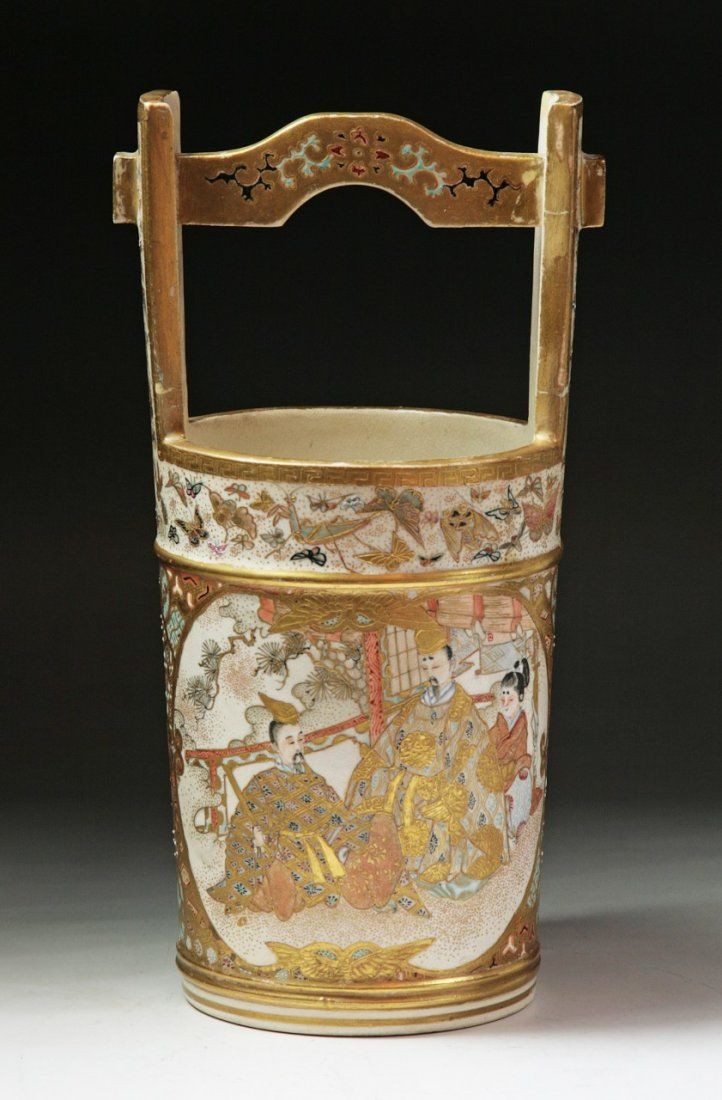 A Japanese Antique Gilt Satsuma Bucket.