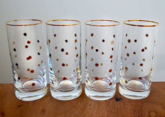 Set of 4 Gold Star Highball Glasses - Mid Century Barware with stars and gold rims