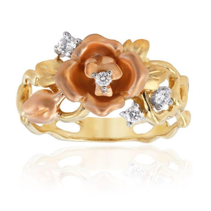 Rose Ring   Rose diamond ring in 18ct yellow and rose gold. Total diamond weight = 0.11ct.  #rose #ring #rosegold #diamond #mccabe