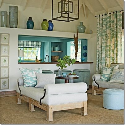 Refreshing Aqua Living Room With Aqua And White Decor Fabric And Drapery  Fabric