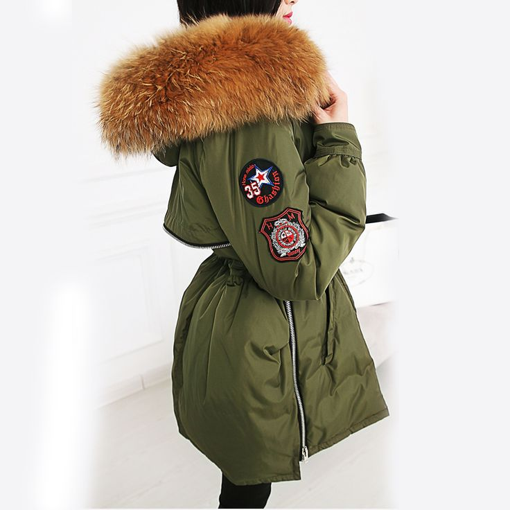 22cm Large Natural Real Raccoon Fur 2016 Winter Womens Jackets And Coats White Duck Down Jacket Thicken Parka Outwear Army Green