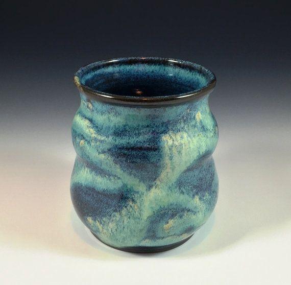 Pottery Utensil Holder Jar In Beautiful Shades Of Green Blue And Aqua Utensil Holder Jars