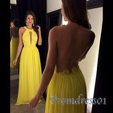 Beautiful backless prom dress, ball gown, 2016 yellow chiffon halter dress for teens