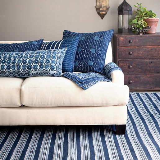 Dash & Albert | Cameroon Indoor/Outdoor Rug | Based on an antique textile found at Brimfield, this indoor/outdoor rug has a rich mix of navy, indigo, and sky stripes.
