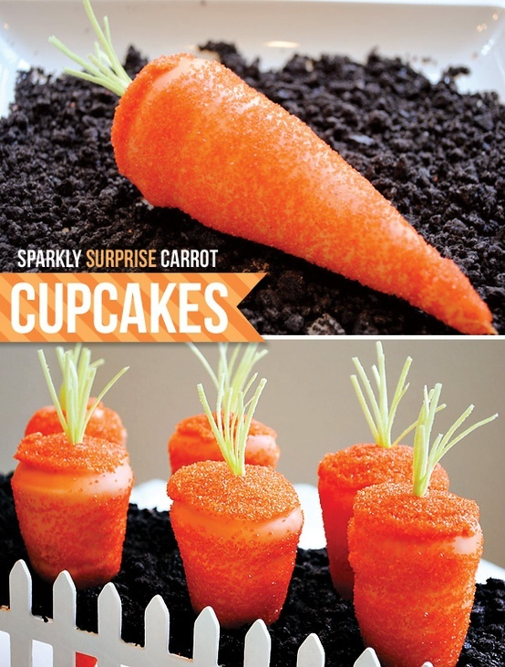 Can't find the link but the idea is fab Insanely adorable carrot cupcakes for Easter. yes, cupcakes! (baked in ice cream cones) / Other / Trendy Pics