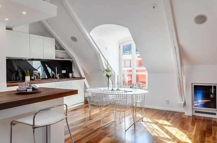 Gorgeous attic apartment in Stockholm.