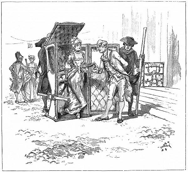 sedan chair, 18th century, after Reginald Birch, 1884