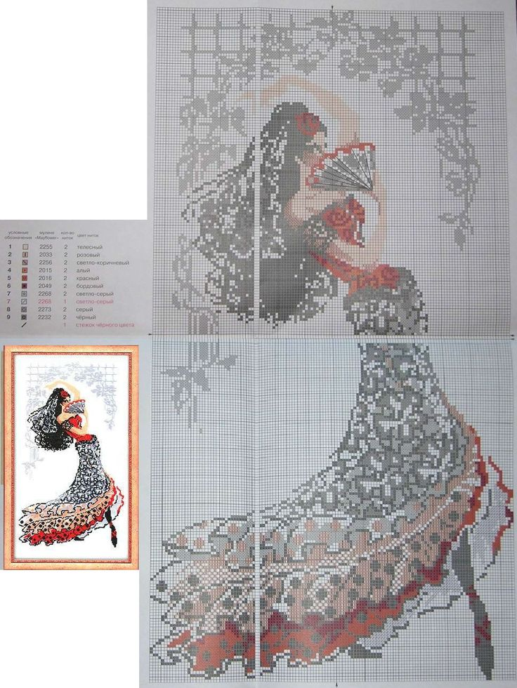 0 point de croix danseuse espagnole - cross stitch spanish dancer