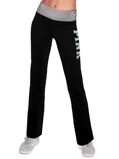 e7ca057e2dd6a6 PINK NEW! ONLINE EXCLUSIVE BLING FLAT WAIST YOGA FLARE PANT Color: Pure  Black With Grey Flat Waistband